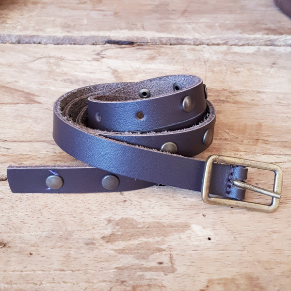 Ladies Studded Belt DarkBrown 16mm
