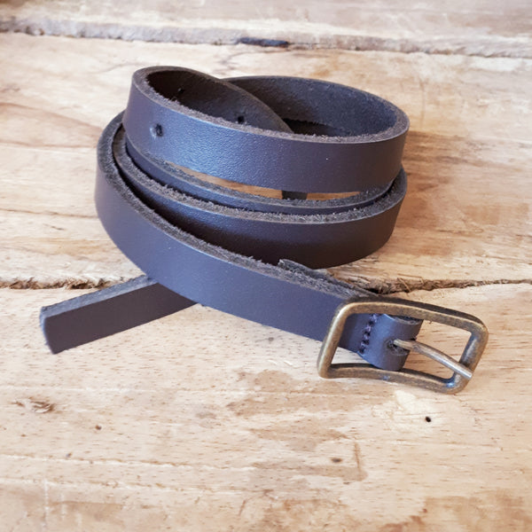 Ladies Plain Dark Brown Belt 16mm