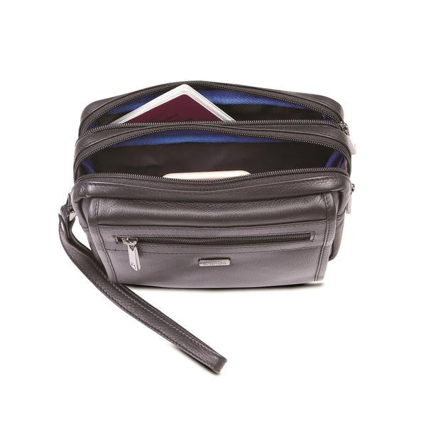 Andes Large Gents Cross Body Tablet Bag with Top Handle and Shoulder Strap