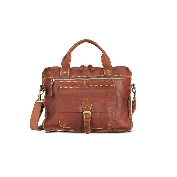 Aqua Double Handle Top Zip Laptop Shoulder Bag in a soft,heavy stiched, Raw Edge Leather