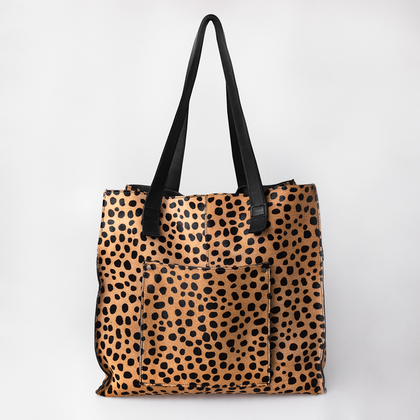 Faux Print Leather Tote in Cheetah Beige