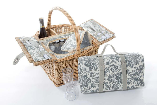 Wine picnic basket – natural wicker - 2 persons