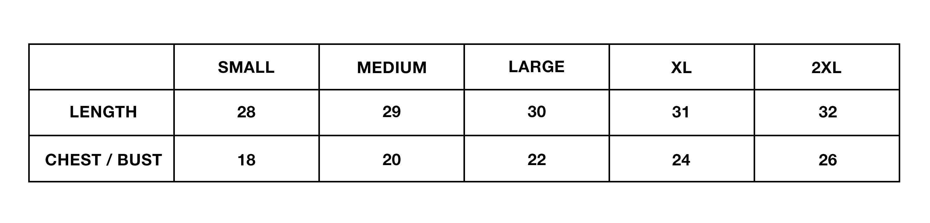 Size Chart For T-Shirts