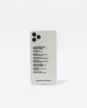 We're Not Really Strangers phone case shown upright and front facing with black text