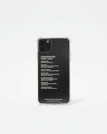 We're Not Really Strangers phone case shown upright and front facing with white text
