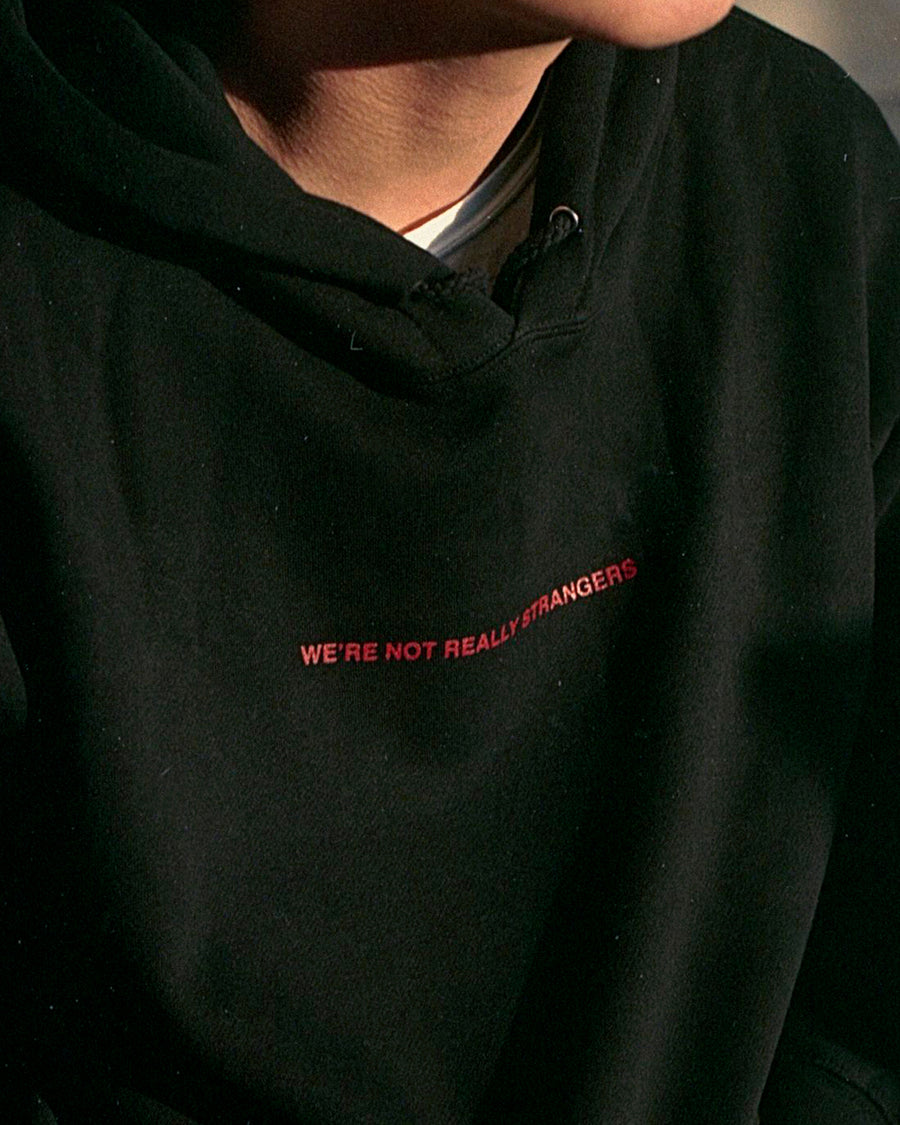 We're Not Really Strangers Limited Edition Black Hoodie on model zoomed in showing text on hoodie