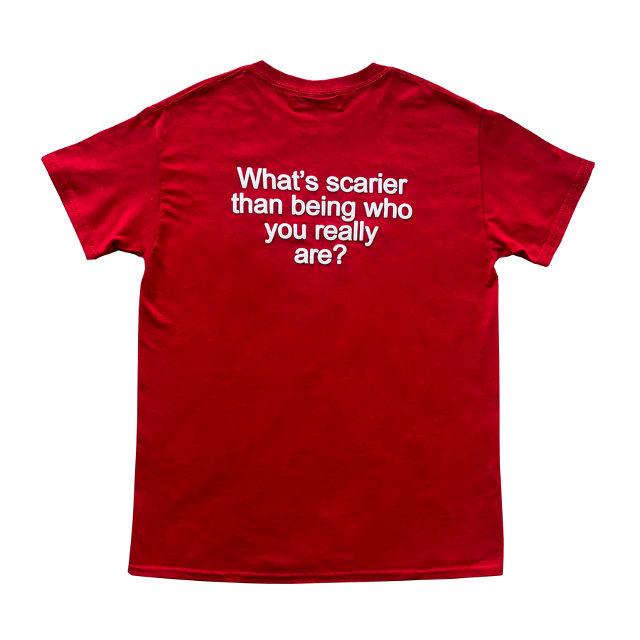 We're Not Really Strangers Red Tee laid flat back facing