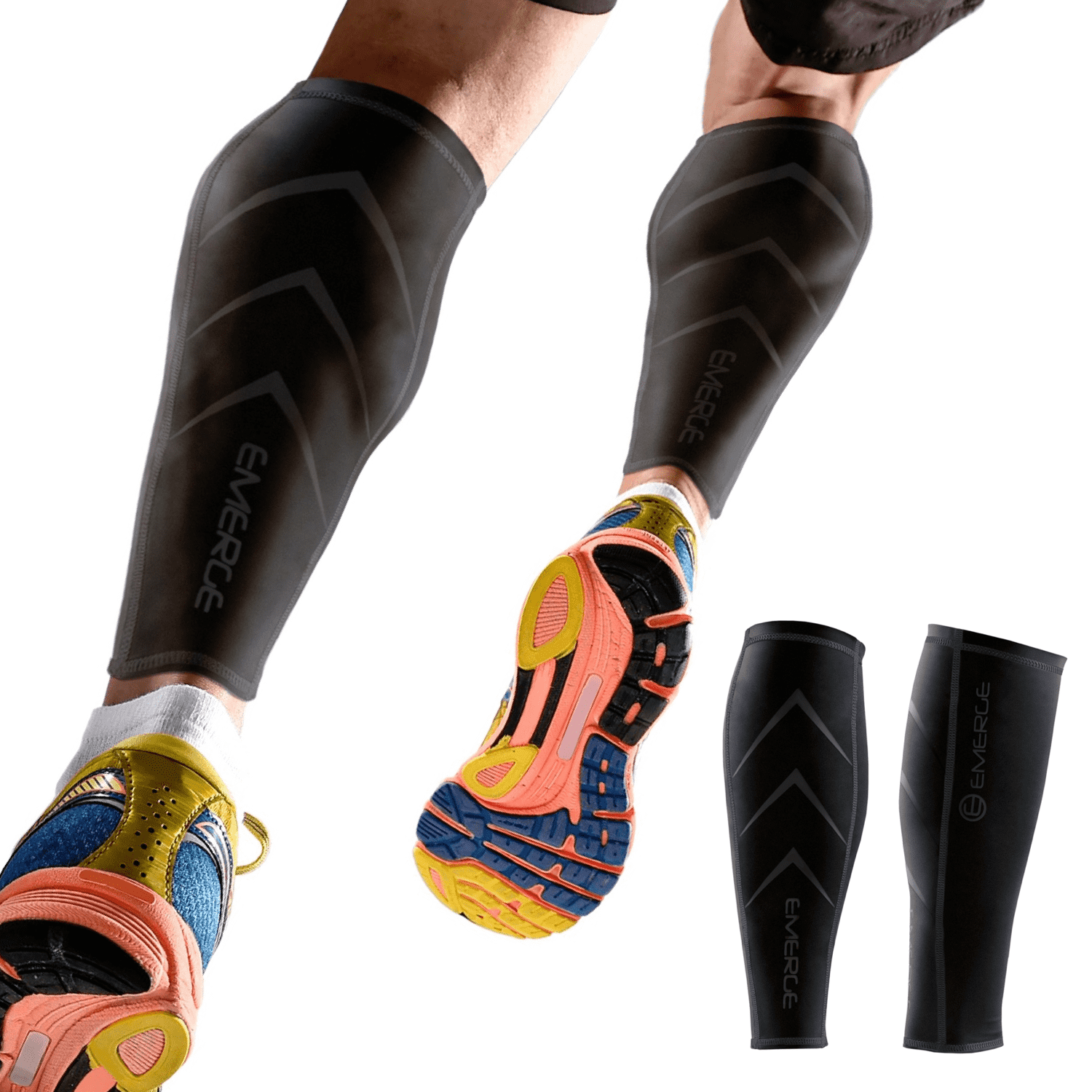 Calf Leg Compression Sleeve with Indoor Stationary Bike Sweat Catcher Strap