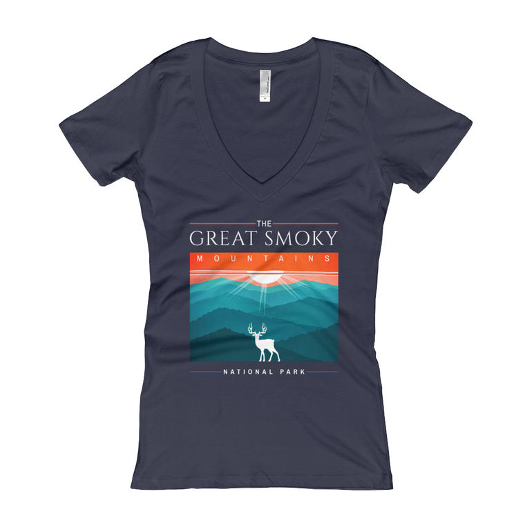 Great Smoky Mountains Deer Women's V-Neck T-shirt