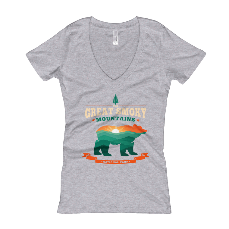 Great Smoky Mountains Bear women's V-Neck T-shirt