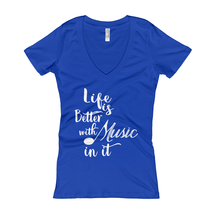 Life is Better With Music Women's V-Neck from US Apparel - Guerrilla Country