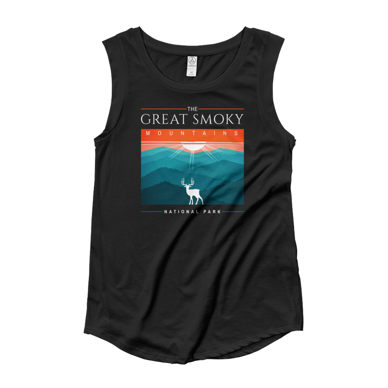 Great Smoky Mountains Deer Ladies' Cap Sleeve T-Shirt