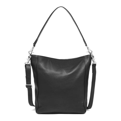DEPECHE Medium shopper taske i blødt skind Medium bag 099 Black (Nero)