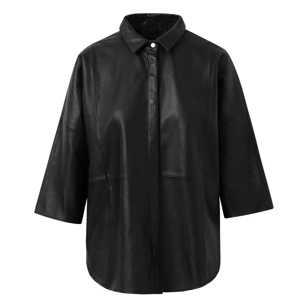 Depeche leather wear Oversize skindskjorte Tops 099 Black (Nero)