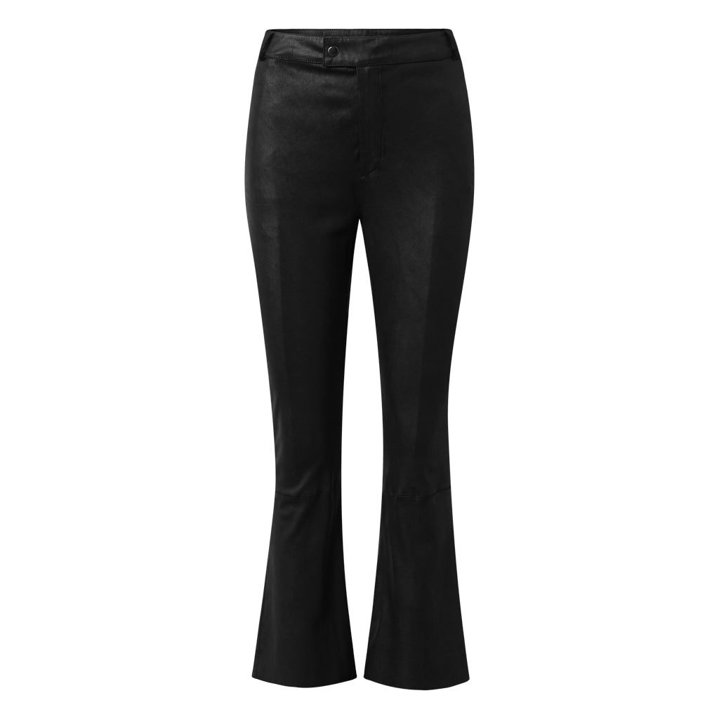 Depeche leather wear Skindbukser med stræk og flare effekt Pants 099 Black (Nero)