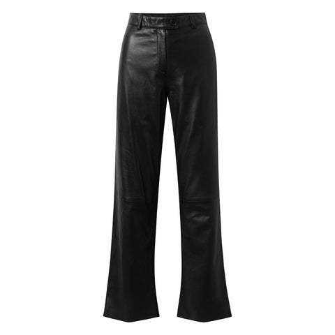 Depeche leather wear Skindbukser med vide og lige ben Pants 099 Black (Nero)