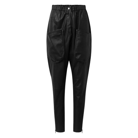 Depeche leather wear Baggy leather pants with raw details Pants 099 Black (Nero)