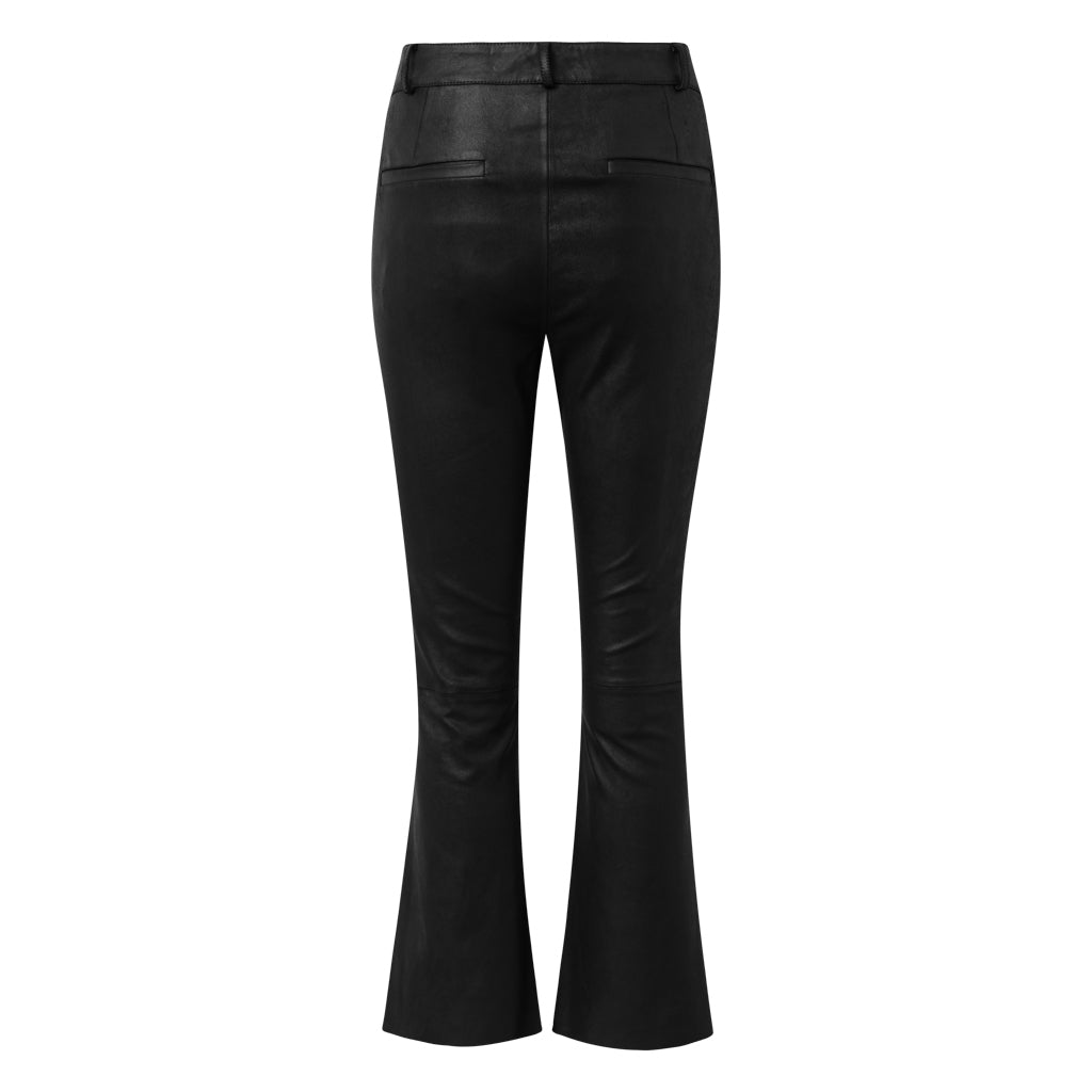 Depeche leather wear Leather pants with stretch and flare effect Pants 099 Black (Nero)