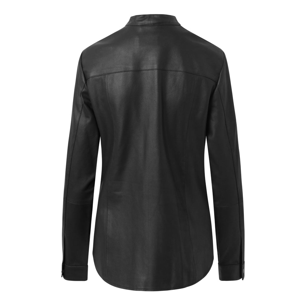 Depeche leather wear Leather shirt with raw expression Tops 099 Black (Nero)