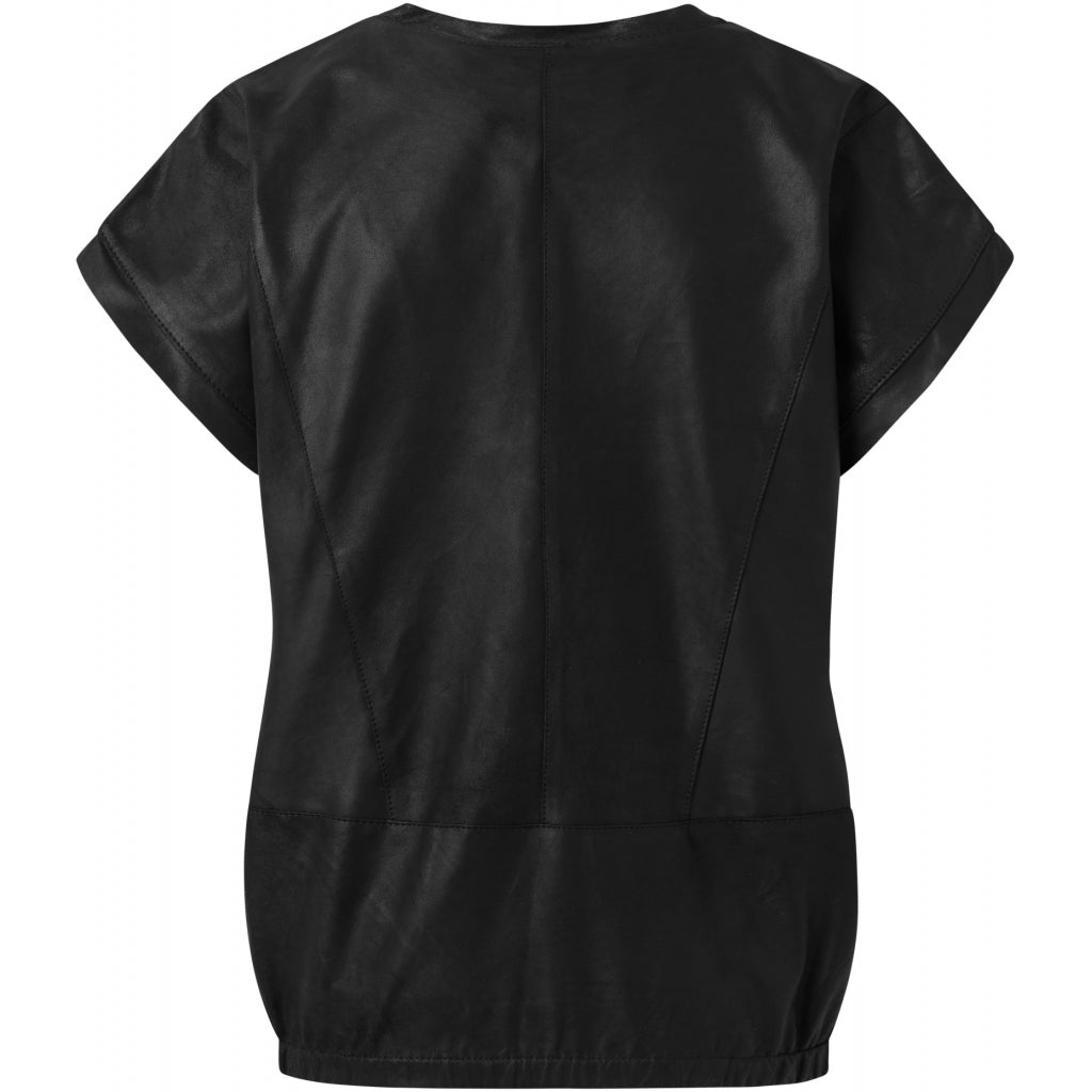 Depeche leather wear Leather top with pretty v-neck Tops 099 Black (Nero)