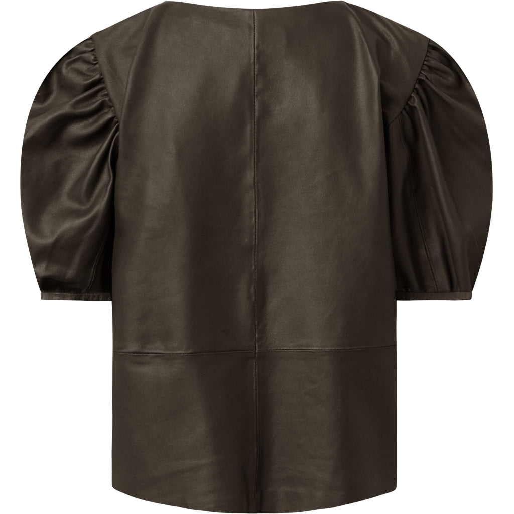 Depeche leather wear Leather top with puffed sleeves Tops 038 Dusty taupe