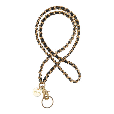 DEPECHE Long keychain in leather and metal Accessories 097 Gold (Platino)