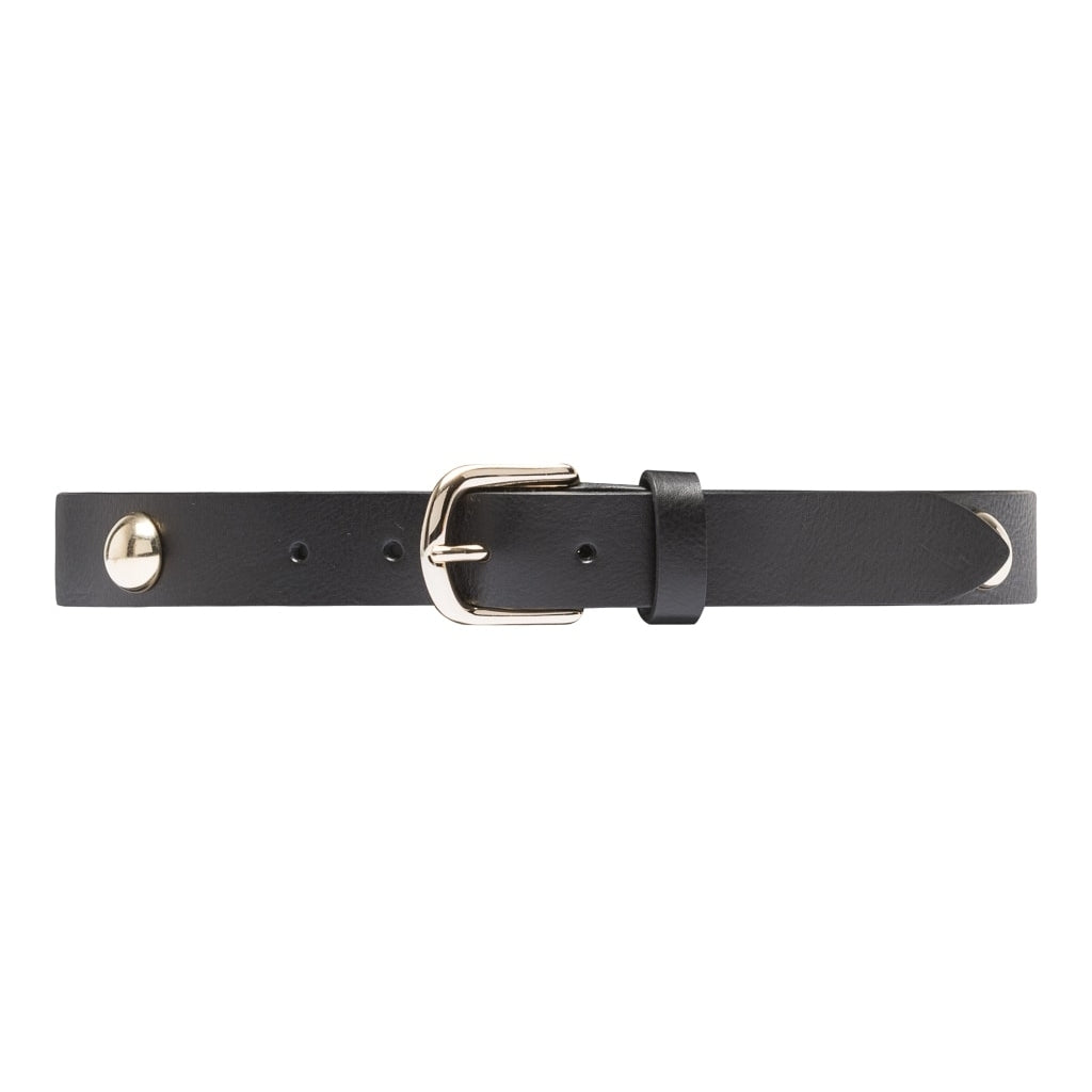 DEPECHE Narrow leather belt with large studs Belts 097 Gold (Platino)