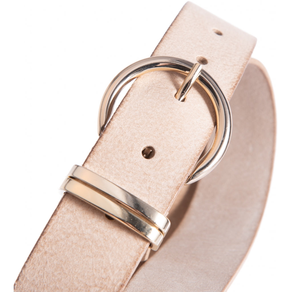 DEPECHE Narrow leather belt with round buckle Belts 011 Sand