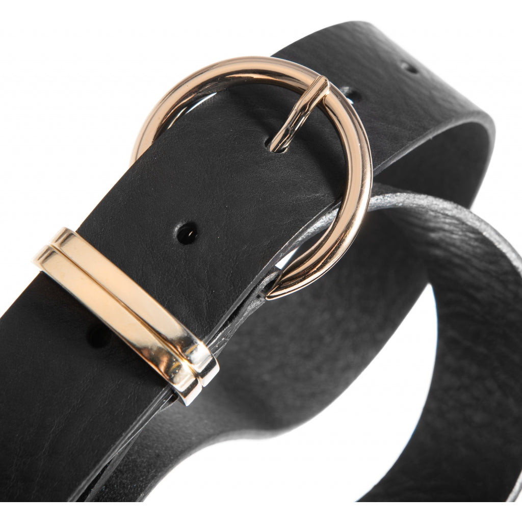 DEPECHE Narrow leather belt with round buckle Belts 099 Black (Nero)