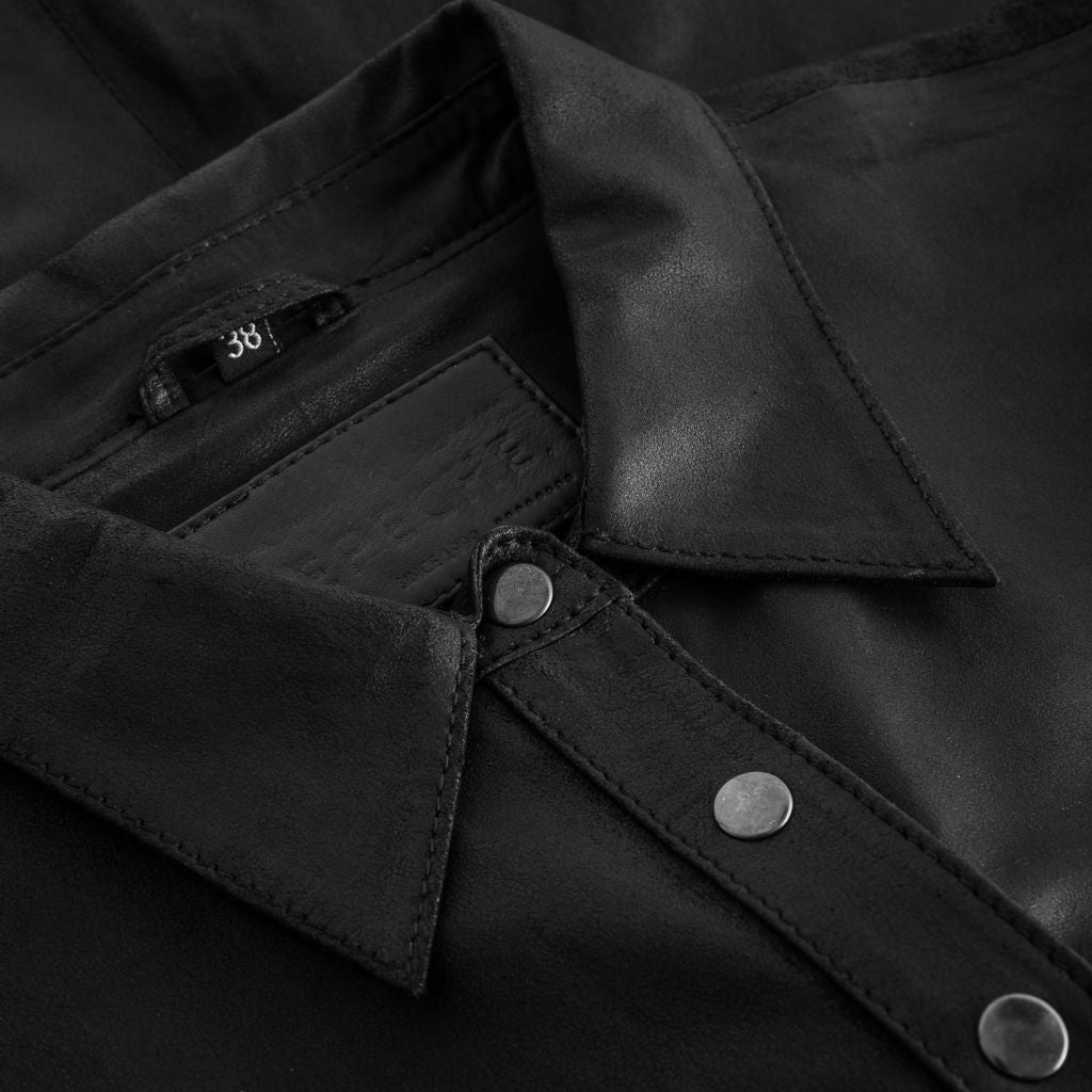 Depeche leather wear Shirt w/buttons Tops 099 Black (Nero)