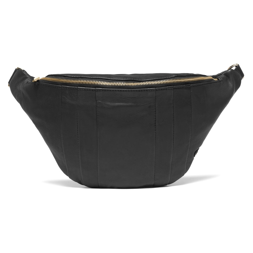 DEPECHE Bumbag decorated with beautiful folds in the leather Bum bag 099 Black (Nero)