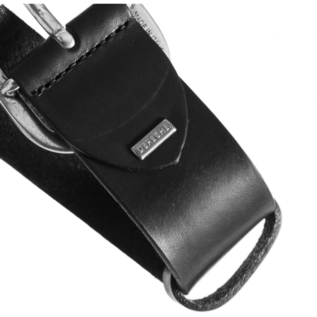 DEPECHE Jeans belt in nice leather quality Belts 099 Black (Nero)