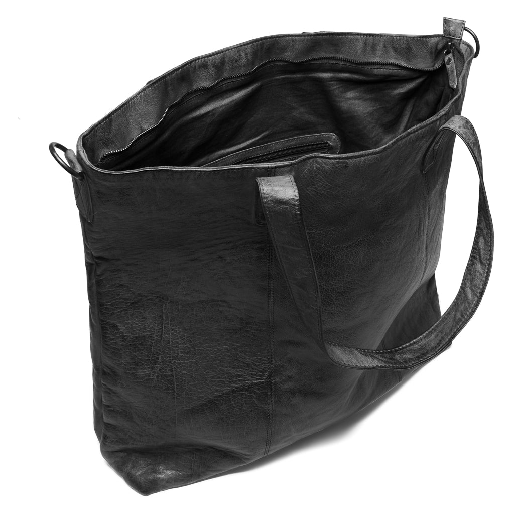 DEPECHE Large spacious shopper bag in soft leather Large bag 099 Black (Nero)
