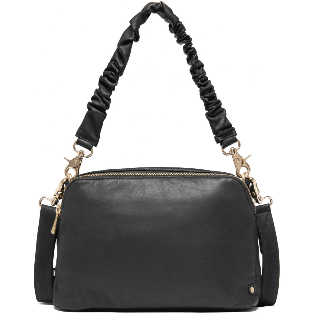 DEPECHE Leather crossover bag with wrinkle shoulderstrap Cross over 099 Black (Nero)