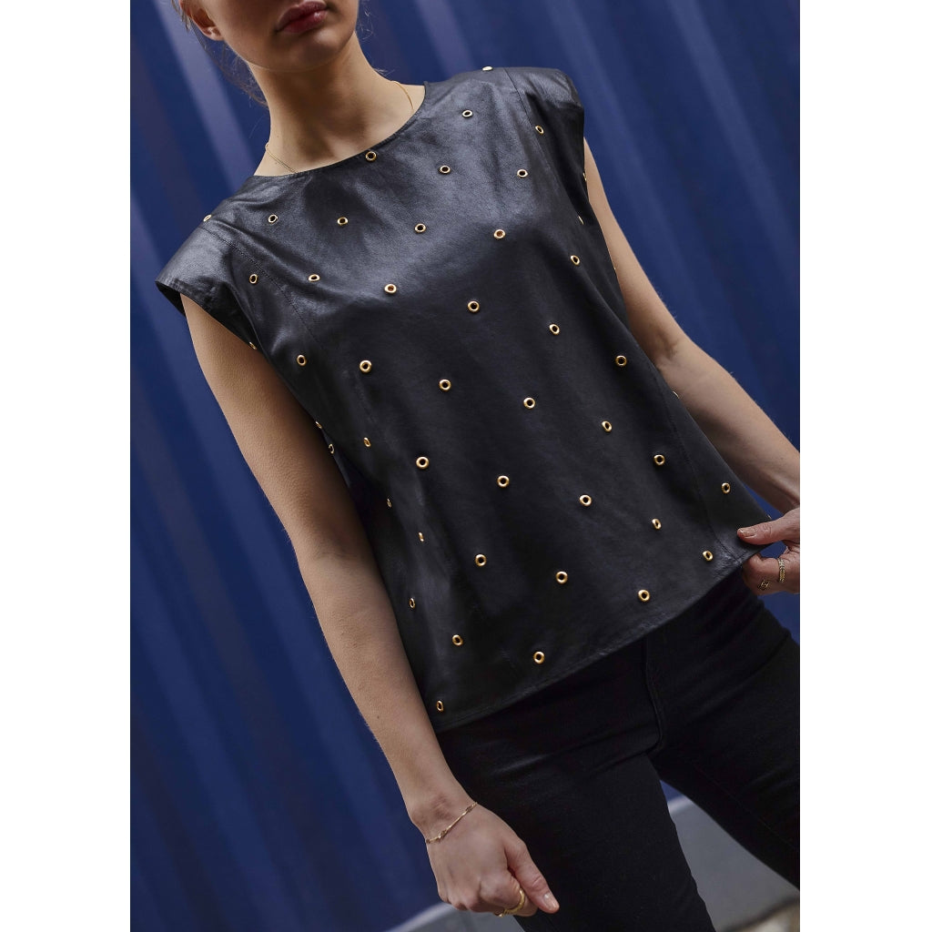 Depeche leather wear Leather top decorated with eyelets Tops 099 Black (Nero)
