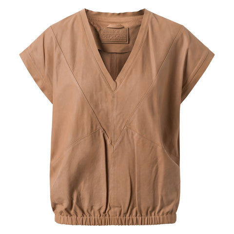Depeche leather wear Leather top with pretty v-neck Tops 156 Camel