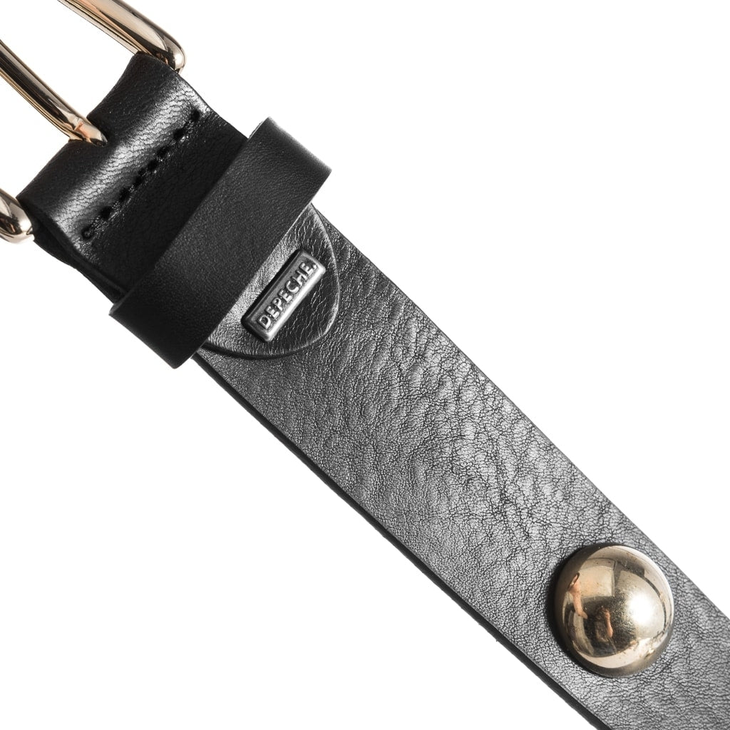 DEPECHE Narrow leather belt with studs Belts 097 Gold (Platino)