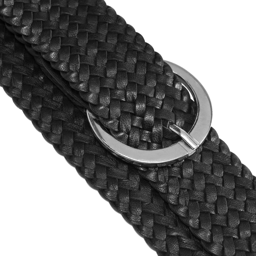 DEPECHE Waist belt in soft braided leather Belts 099 Black (Nero)