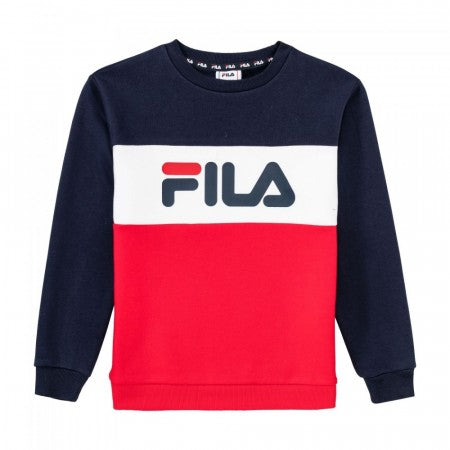 FILA KIDS NIGHT Blocked Crew Shirt - Black Iris/True Red/Bright White