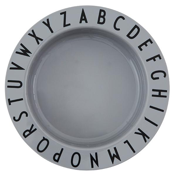 Design Letters Eat & Learn TRITAN Deep Plate - Grey Til spiseplassen Design Letters