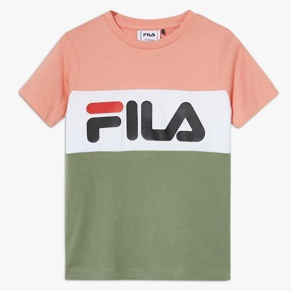 FILA KIDS CLASSIC DAY Blocked Tee - Lobster Bisque/Sea Spray/Bright White Overdeler FILA