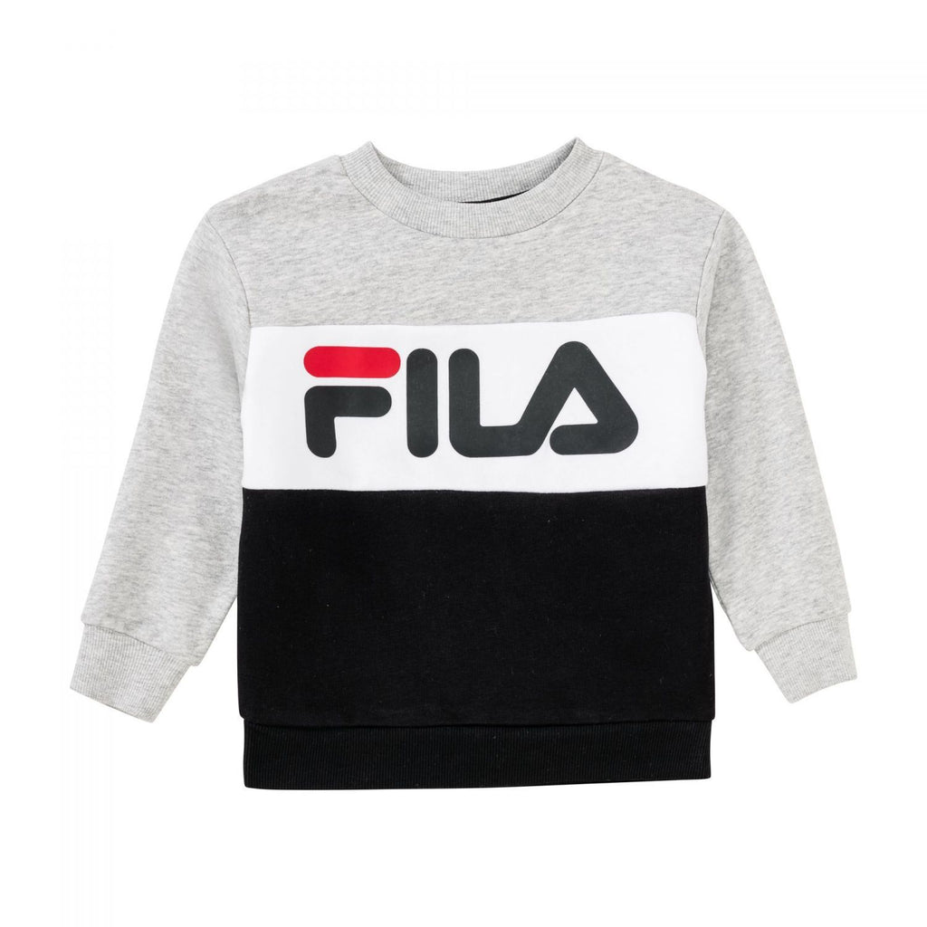 FILA KIDS NIGHT Blocked Crew Shirt - GRÅ/HVIT/SORT - Torgunns Barneklær