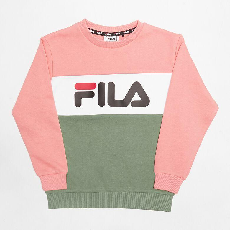 FILA KIDS NIGHT Blocked Crew Shirt - Lobster Bisque/Sea Spray/Bright White Overdeler FILA