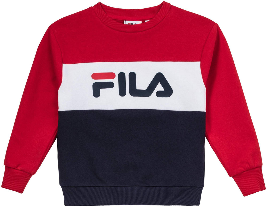 FILA KIDS NIGHT Blocked Crew Shirt - Red/White/Navy Overdeler FILA