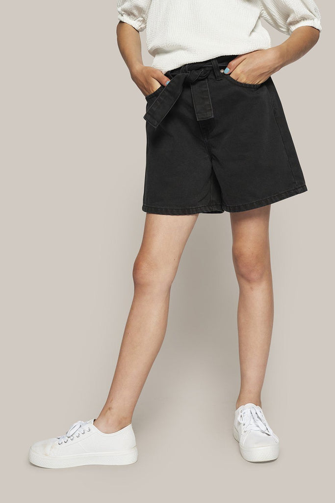 GRUNT Paper Bag Night Black Shorts - Black - Torgunns Barneklær