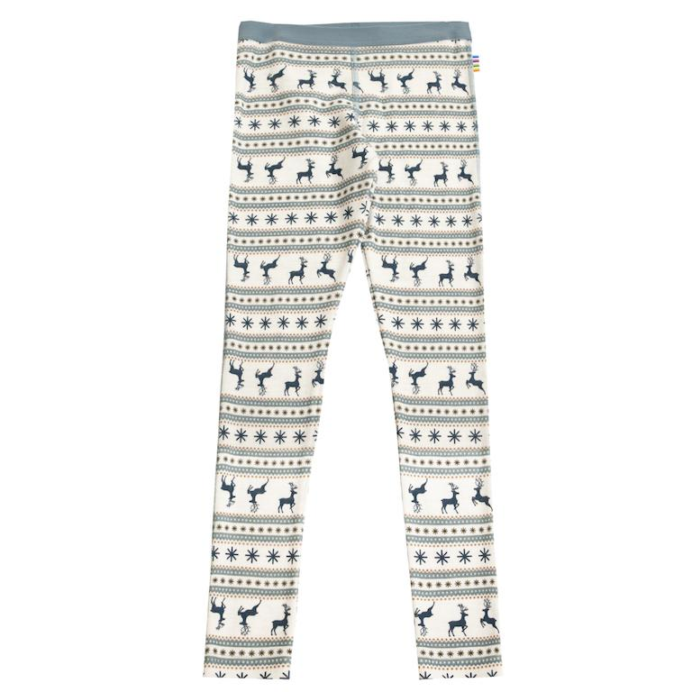 "JOHA Ull Leggings ""Jumping Deer"" - Denim AOP - Torgunns Barneklær"