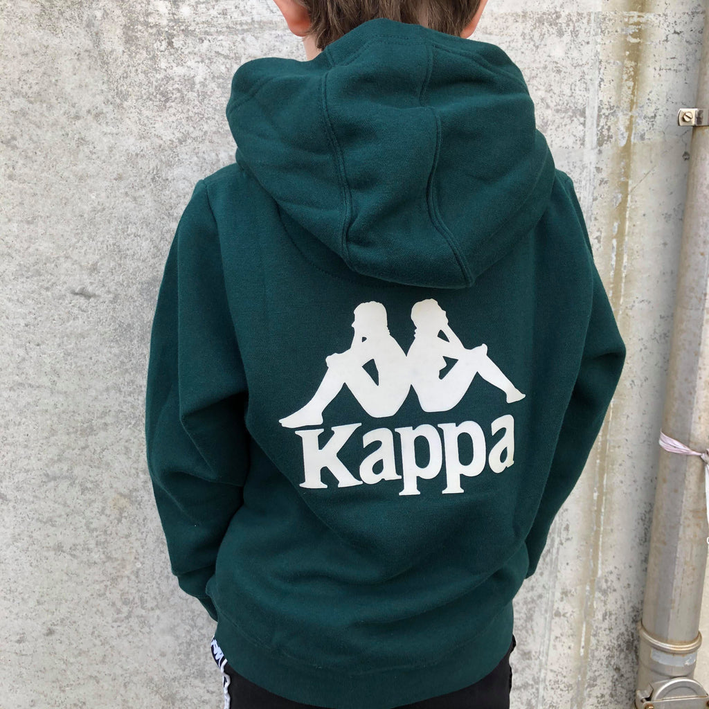 Kappa Jr. Sweat Hood, Auth. Willie - DK Green/Beige - Torgunns Barneklær