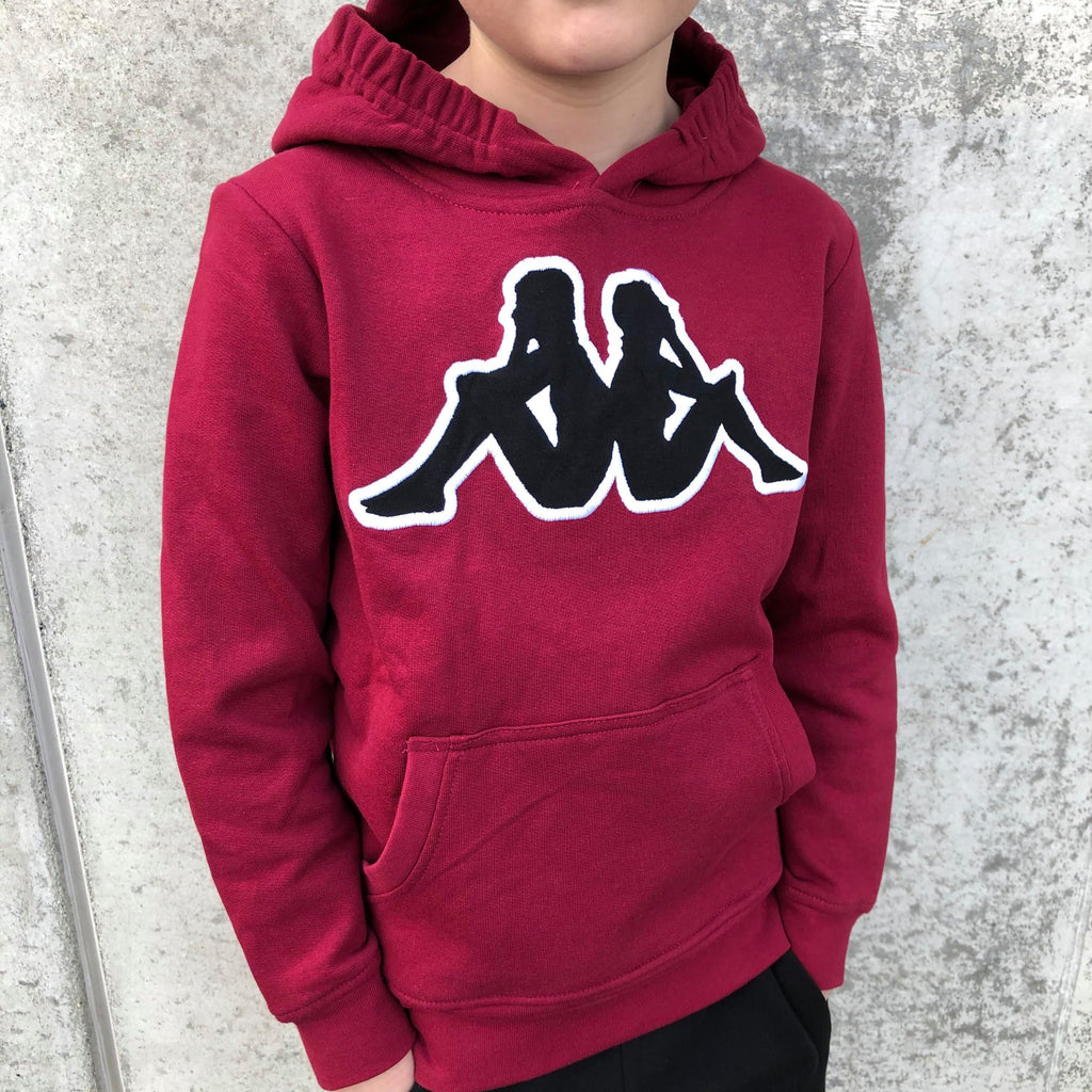 Kappa Jr.Sweat Hood, Logo Airiti - DK Red/Black/White - Torgunns Barneklær