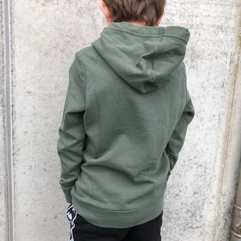 Kappa Jr.Sweat Hood, Logo Airiti - Green Thyme/Black/Grey Overdeler Kappa