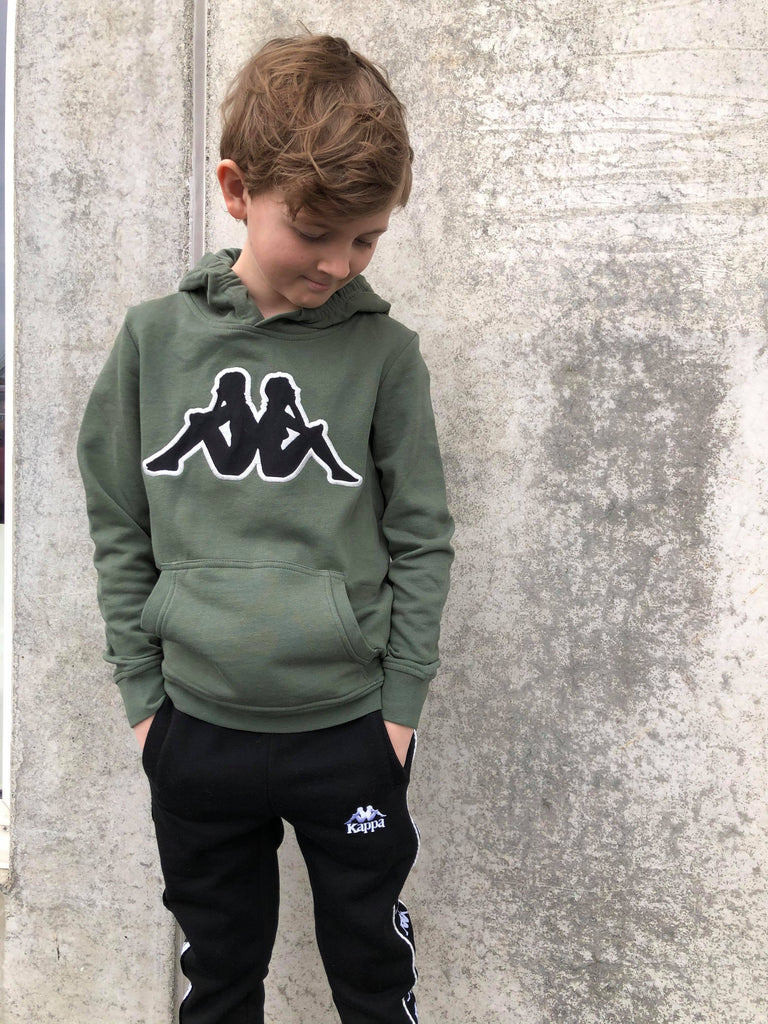 Kappa Jr.Sweat Hood, Logo Airiti - Green Thyme/Black/Grey - Torgunns Barneklær